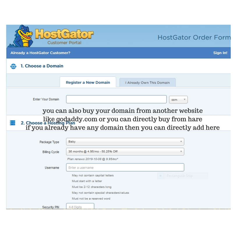 Hostgator-Blilling-Form How to Migrate From Blogger To Wordpress  within 5 Minutes