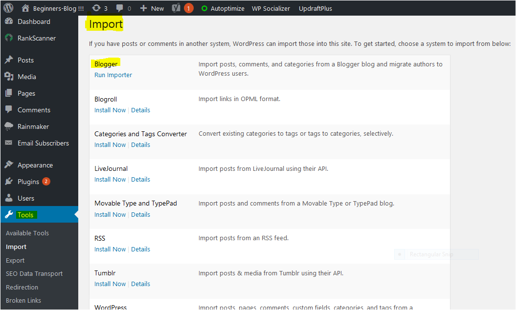 wordpress-dashboard-import-section How to Migrate From Blogger To Wordpress  within 5 Minutes